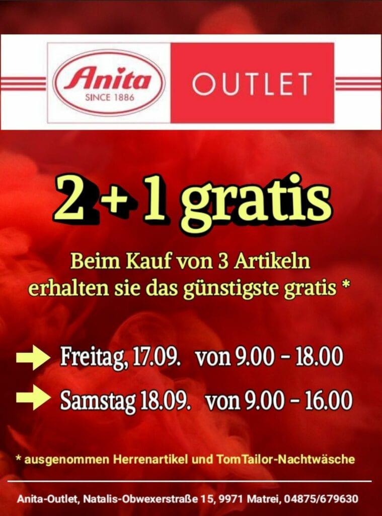 Beim Kauf von drei Artikeln im Anita Outlet in Matrei in Osttirol erhalten Sie den günstigsten gratis.