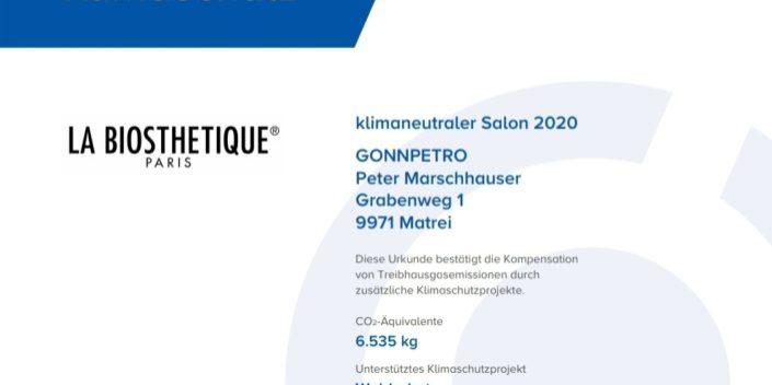Urkunde Klimaneutraler Salon Gon Petro